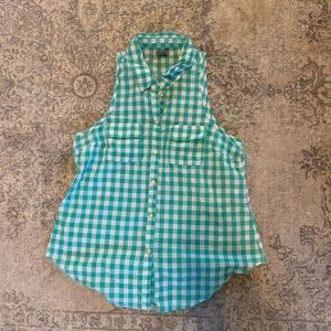 Teal Gingham Button-Up